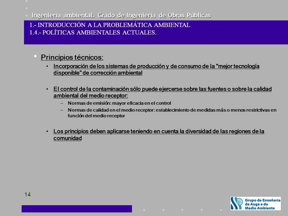 Ingeniería ambiental. Grado de Ingeniería de Obras Públicas 14 Principios técnicos: Incorporación de los sistemas de producción y de consumo de la