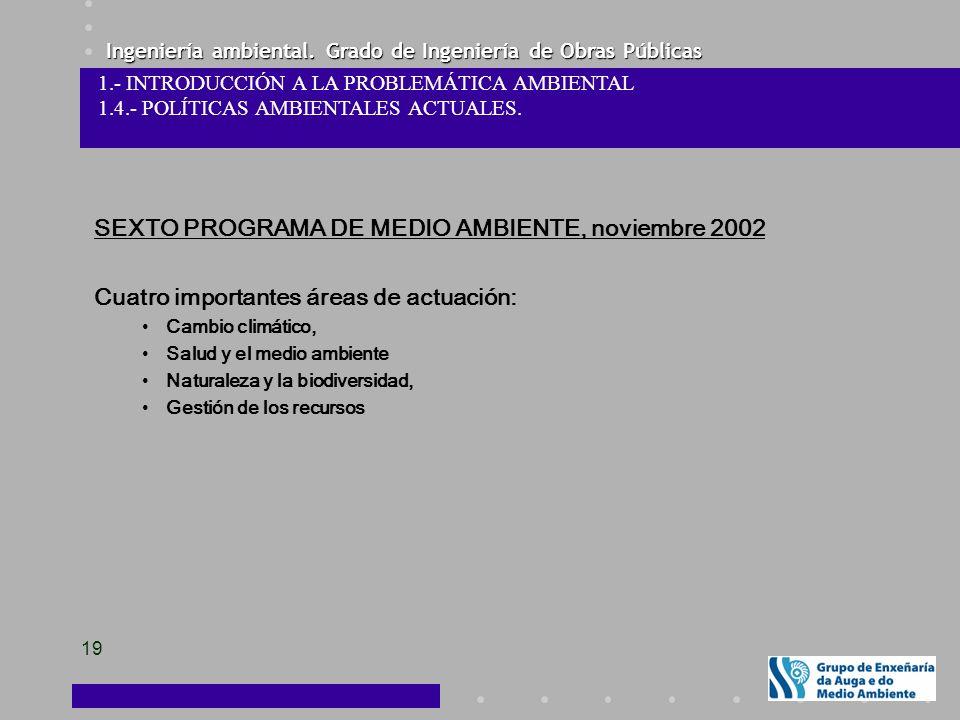 Ingeniería ambiental. Grado de Ingeniería de Obras Públicas 19 SEXTO PROGRAMA DE MEDIO AMBIENTE, noviembre 2002 Cuatro importantes áreas de actuación: