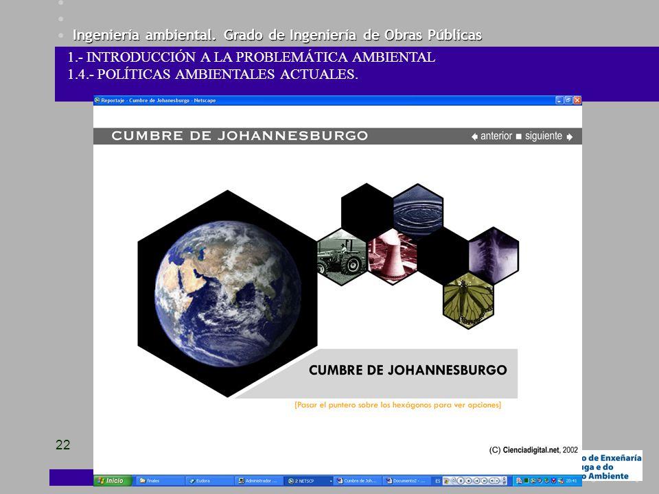Ingeniería ambiental. Grado de Ingeniería de Obras Públicas 22 1.- INTRODUCCIÓN A LA PROBLEMÁTICA AMBIENTAL 1.4.- POLÍTICAS AMBIENTALES ACTUALES.