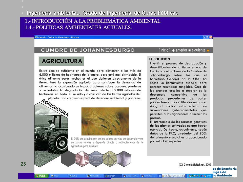 Ingeniería ambiental. Grado de Ingeniería de Obras Públicas 23 1.- INTRODUCCIÓN A LA PROBLEMÁTICA AMBIENTAL 1.4.- POLÍTICAS AMBIENTALES ACTUALES.