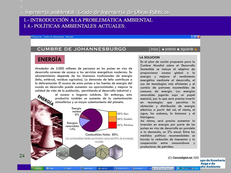 Ingeniería ambiental. Grado de Ingeniería de Obras Públicas 24 1.- INTRODUCCIÓN A LA PROBLEMÁTICA AMBIENTAL 1.4.- POLÍTICAS AMBIENTALES ACTUALES.