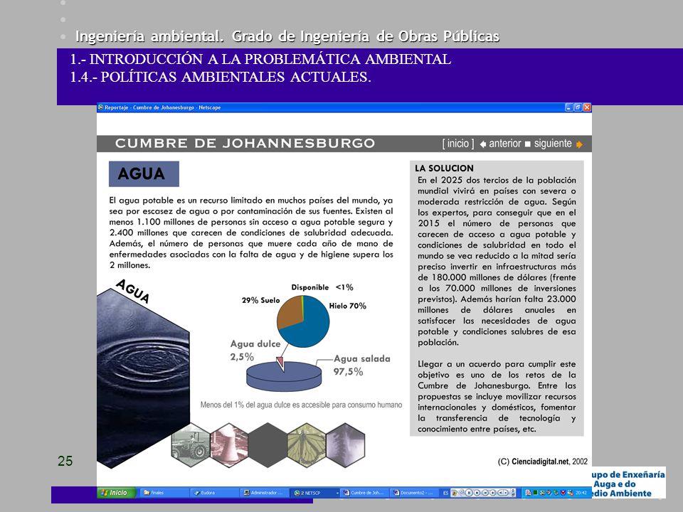 Ingeniería ambiental. Grado de Ingeniería de Obras Públicas 25 1.- INTRODUCCIÓN A LA PROBLEMÁTICA AMBIENTAL 1.4.- POLÍTICAS AMBIENTALES ACTUALES.