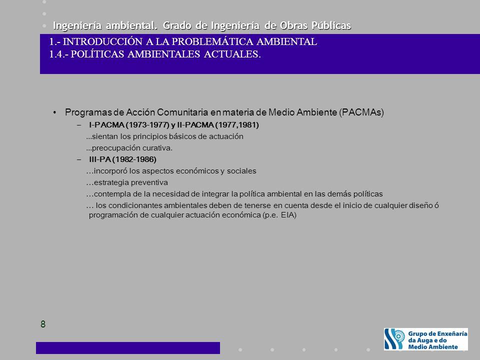 Ingeniería ambiental. Grado de Ingeniería de Obras Públicas 8 1.- INTRODUCCIÓN A LA PROBLEMÁTICA AMBIENTAL 1.4.- POLÍTICAS AMBIENTALES ACTUALES. Progr
