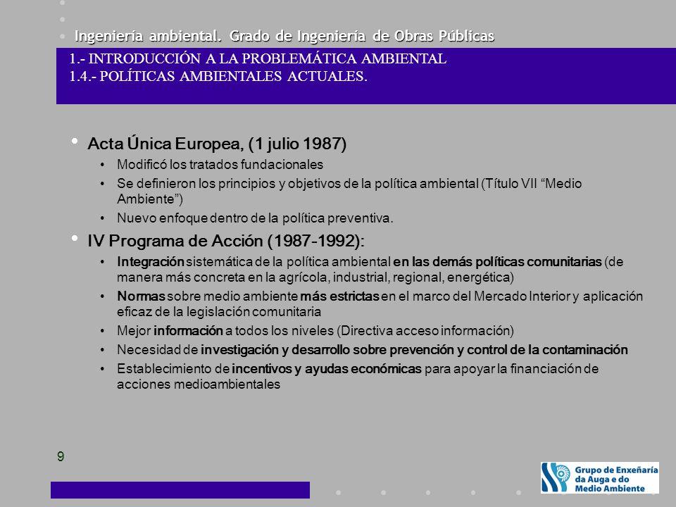 Ingeniería ambiental. Grado de Ingeniería de Obras Públicas 9 Acta Única Europea, (1 julio 1987) Modificó los tratados fundacionales Se definieron los