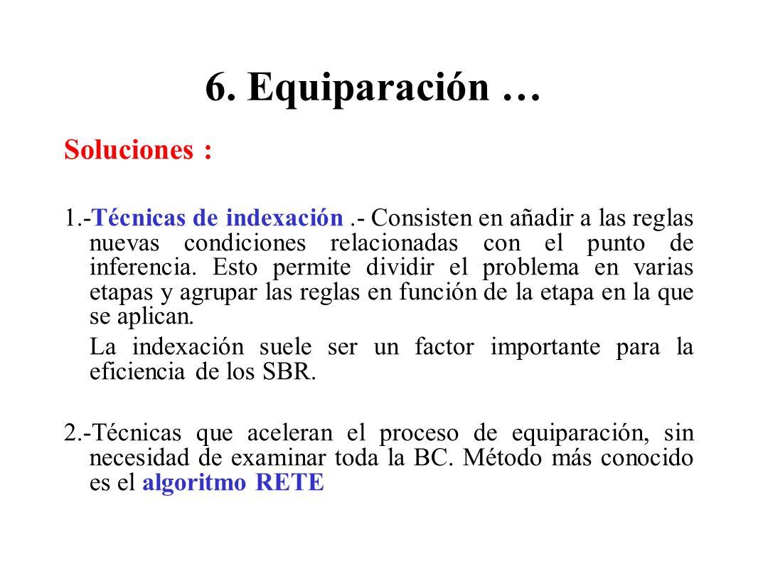 6. Equiparación … Soluciones : 1.-Técnicas de indexación.- Consisten en añadir a las reglas nuevas condiciones relacionadas con el punto de inferencia