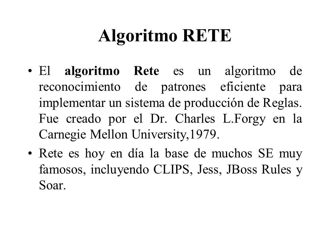 Algoritmo RETE El algoritmo Rete es un algoritmo de reconocimiento de patrones eficiente para implementar un sistema de producción de Reglas. Fue crea