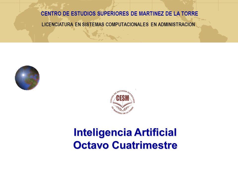 LICENCIATURA EN SISTEMAS COMPUTACIONALES EN ADMINISTRACION Inteligencia Artificial Octavo Cuatrimestre CENTRO DE ESTUDIOS SUPERIORES DE MARTINEZ DE LA TORRE