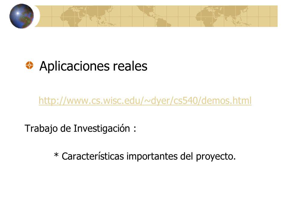 Aplicaciones reales http://www.cs.wisc.edu/~dyer/cs540/demos.html Trabajo de Investigación : * Características importantes del proyecto.