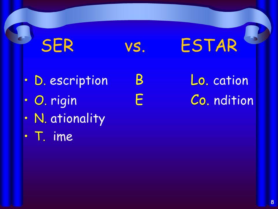 SER vs. ESTAR D. Lo.D. escription BLo. cation O. CoO. rigin ECo. ndition N.N. ationality T.T. ime 8