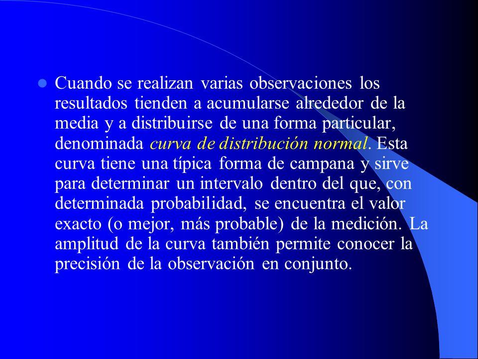 Cuando se realizan varias observaciones los resultados tienden a acumularse alrededor de la media y a distribuirse de una forma particular, denominada