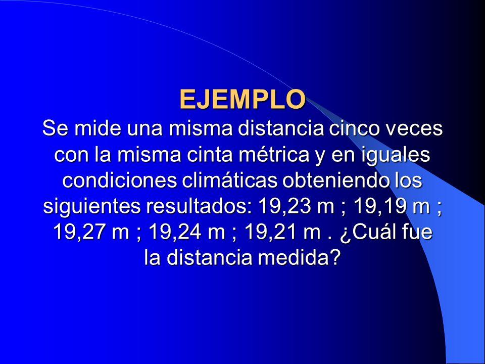 EJEMPLO Se mide una misma distancia cinco veces con la misma cinta métrica y en iguales condiciones climáticas obteniendo los siguientes resultados: 1