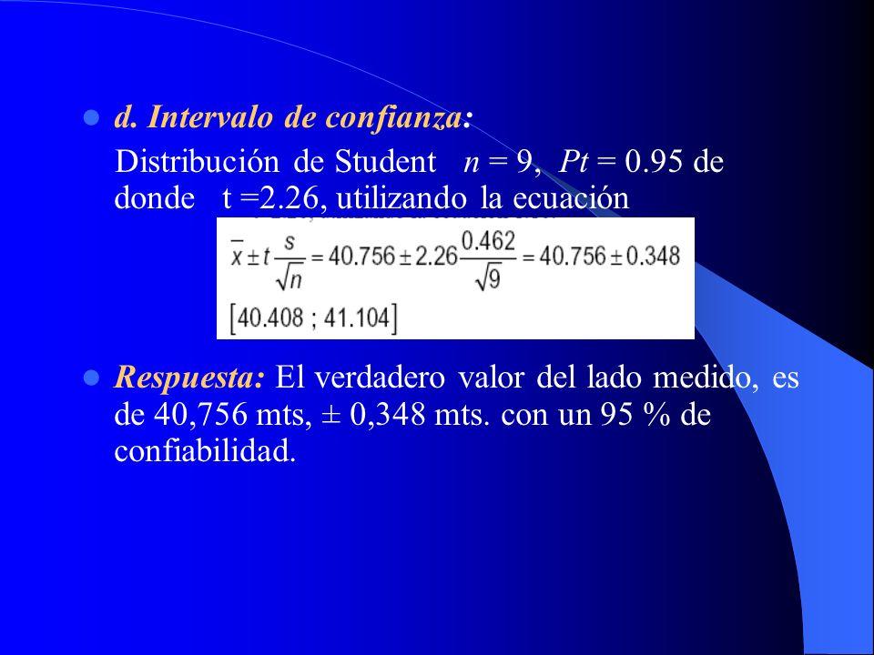 d. Intervalo de confianza: Distribución de Student n = 9, Pt = 0.95 de donde t =2.26, utilizando la ecuación Respuesta: El verdadero valor del lado me