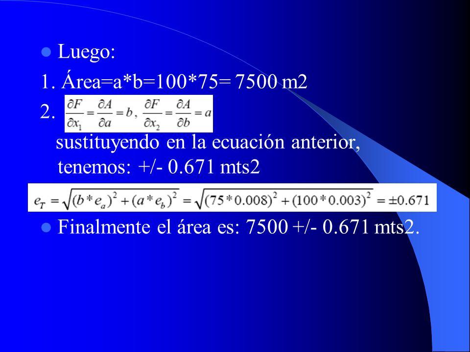 Luego: 1. Área=a*b=100*75= 7500 m2 2. sustituyendo en la ecuación anterior, tenemos: +/- 0.671 mts2 Finalmente el área es: 7500 +/- 0.671 mts2.
