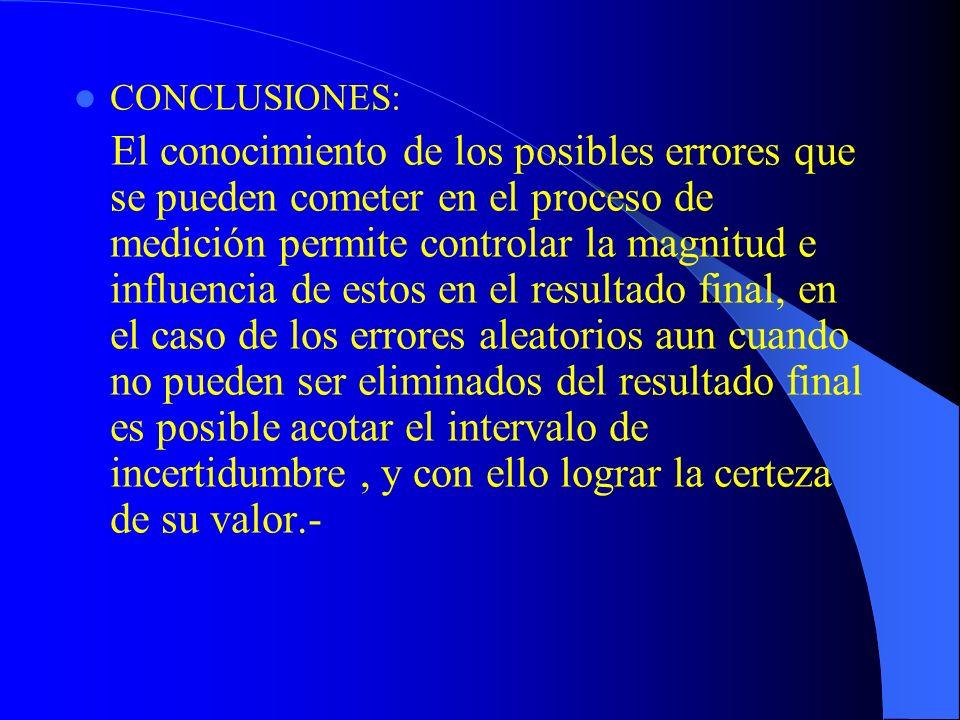 CONCLUSIONES: El conocimiento de los posibles errores que se pueden cometer en el proceso de medición permite controlar la magnitud e influencia de es