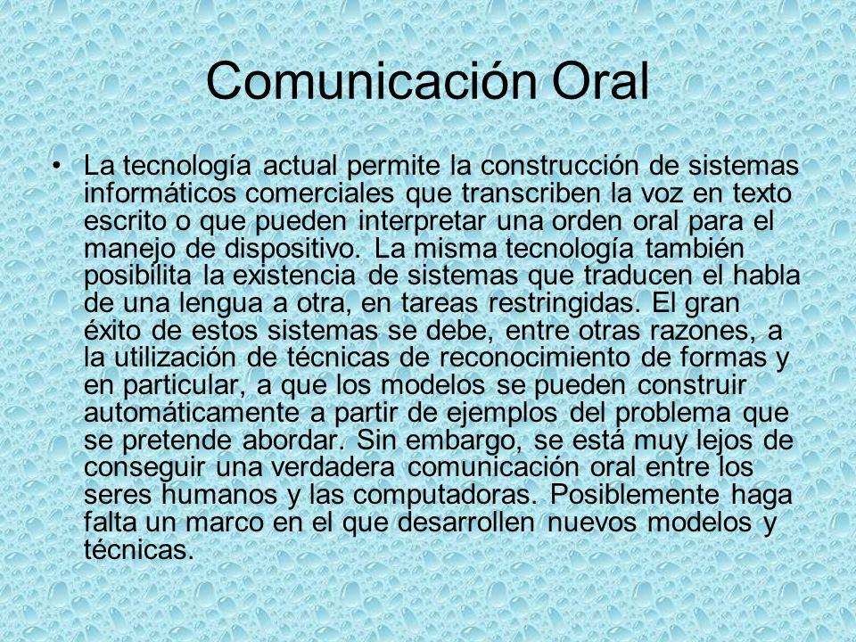 Comunicación Oral La tecnología actual permite la construcción de sistemas informáticos comerciales que transcriben la voz en texto escrito o que pued