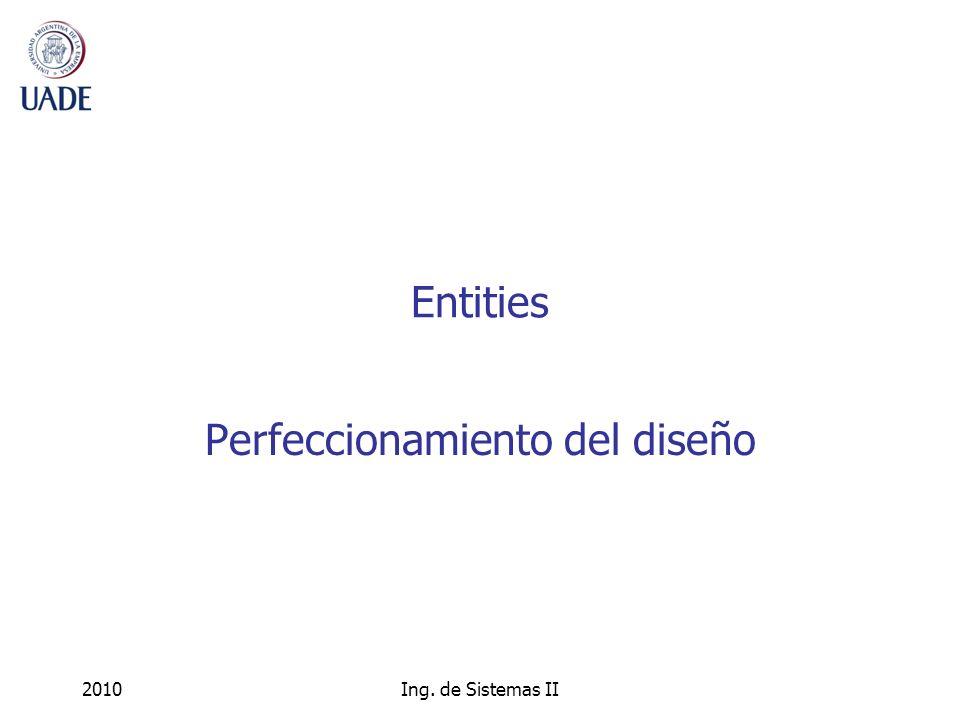 2010Ing. de Sistemas II Entities Perfeccionamiento del diseño