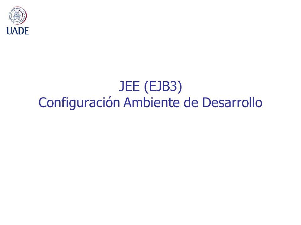 2 Resumen 1.Instalar JDK 1.5 (jdk-1_5_0_17-windows-i586-p.exe) 2.Instalar Servidor de aplicaciones Jboss (jboss-4.2.2.GA-UADE-09.zip) 3.Instalar IDE (eclipse3.3.2-UADE-09.zip) Para los puntos 1, 2 y 3 seguir los pasos que indica el documento: Instrucciones_Instalacion.pdf