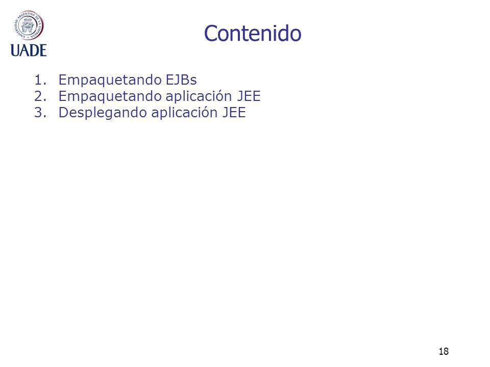 18 Contenido 1.Empaquetando EJBs 2.Empaquetando aplicación JEE 3.Desplegando aplicación JEE
