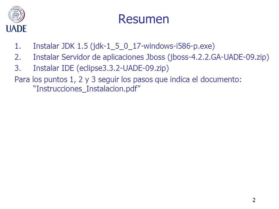 2 Resumen 1.Instalar JDK 1.5 (jdk-1_5_0_17-windows-i586-p.exe) 2.Instalar Servidor de aplicaciones Jboss (jboss-4.2.2.GA-UADE-09.zip) 3.Instalar IDE (