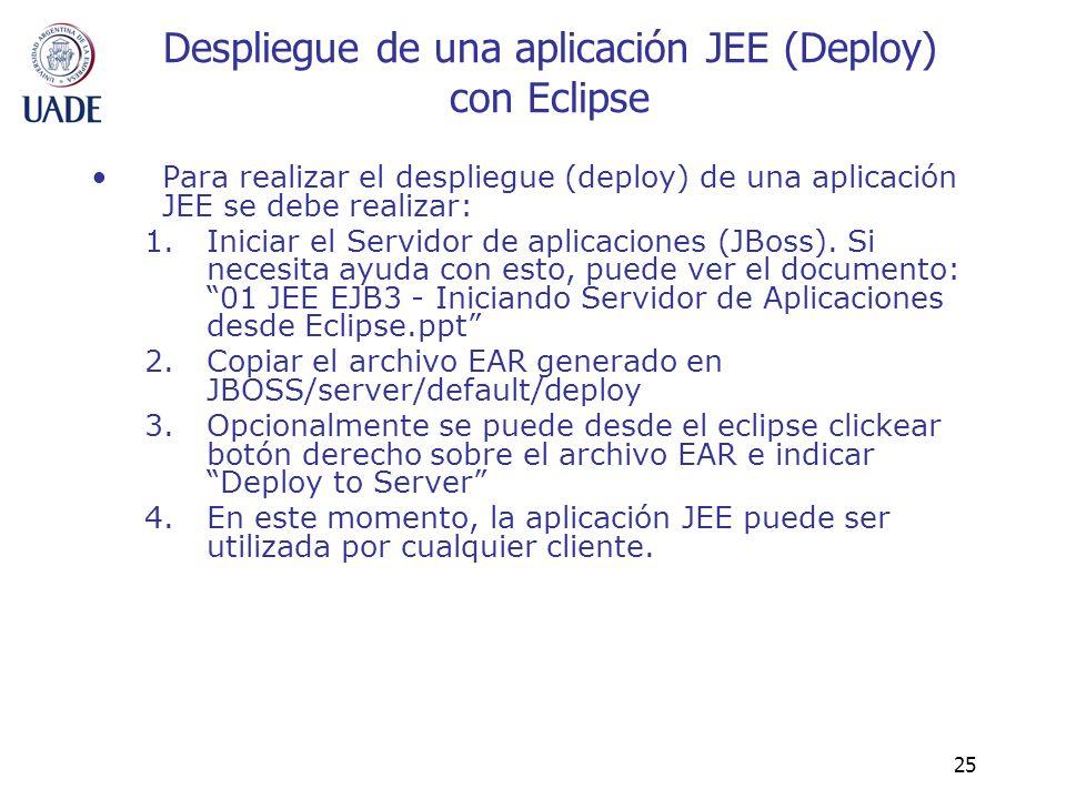 25 Despliegue de una aplicación JEE (Deploy) con Eclipse Para realizar el despliegue (deploy) de una aplicación JEE se debe realizar: 1.Iniciar el Ser