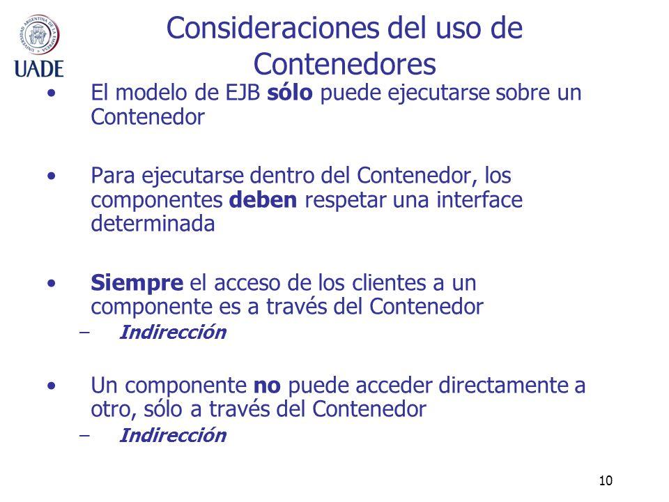 10 Consideraciones del uso de Contenedores El modelo de EJB sólo puede ejecutarse sobre un Contenedor Para ejecutarse dentro del Contenedor, los compo
