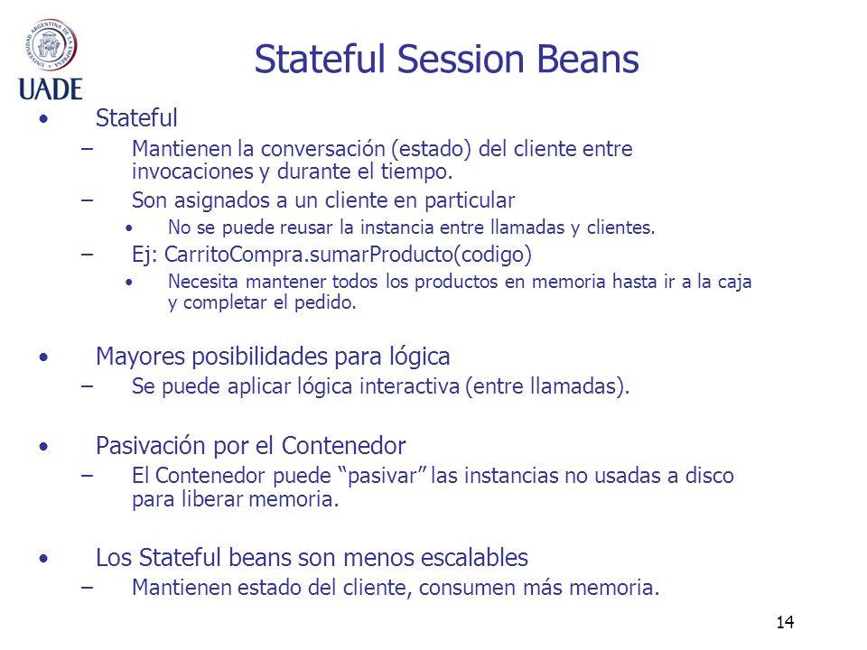 14 Stateful Session Beans Stateful –Mantienen la conversación (estado) del cliente entre invocaciones y durante el tiempo. –Son asignados a un cliente