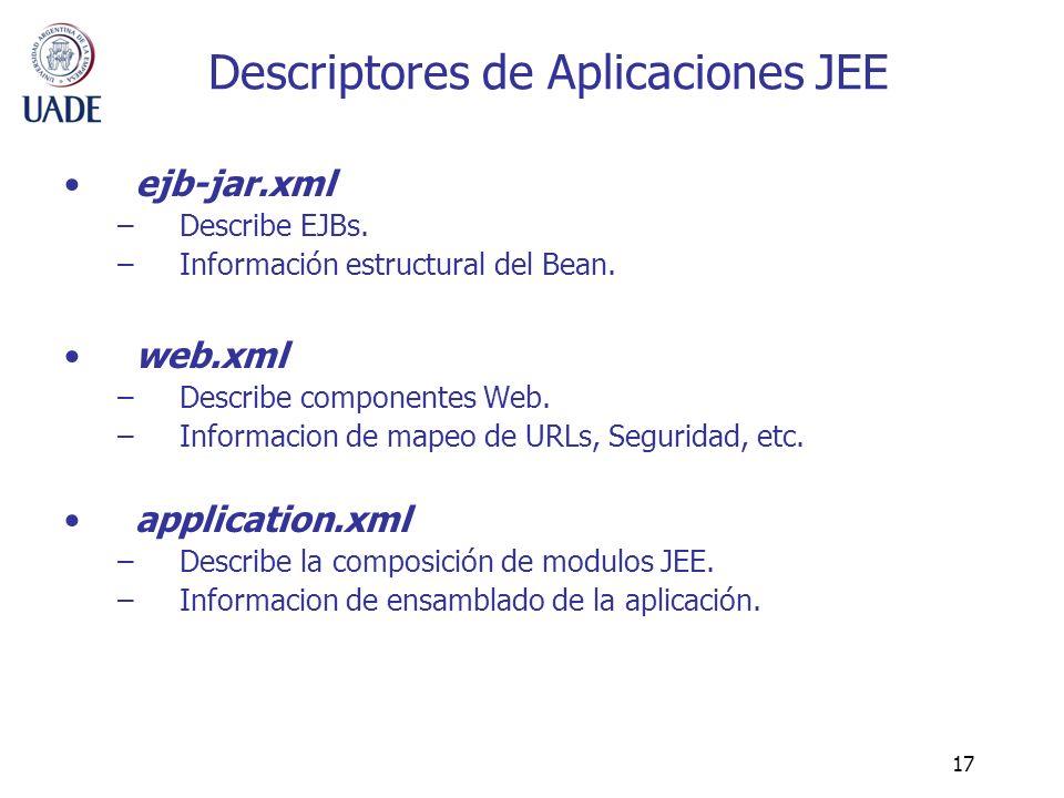 17 Descriptores de Aplicaciones JEE ejb-jar.xml –Describe EJBs. –Información estructural del Bean. web.xml –Describe componentes Web. –Informacion de