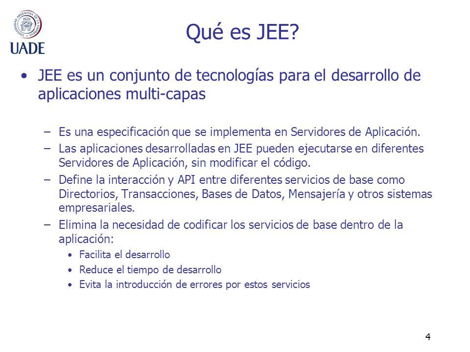 4 Qué es JEE? JEE es un conjunto de tecnologías para el desarrollo de aplicaciones multi-capas –Es una especificación que se implementa en Servidores