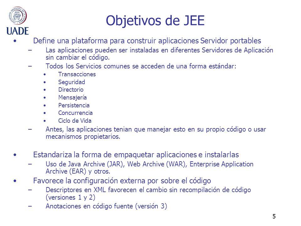 5 Objetivos de JEE Define una plataforma para construir aplicaciones Servidor portables –Las aplicaciones pueden ser instaladas en diferentes Servidor