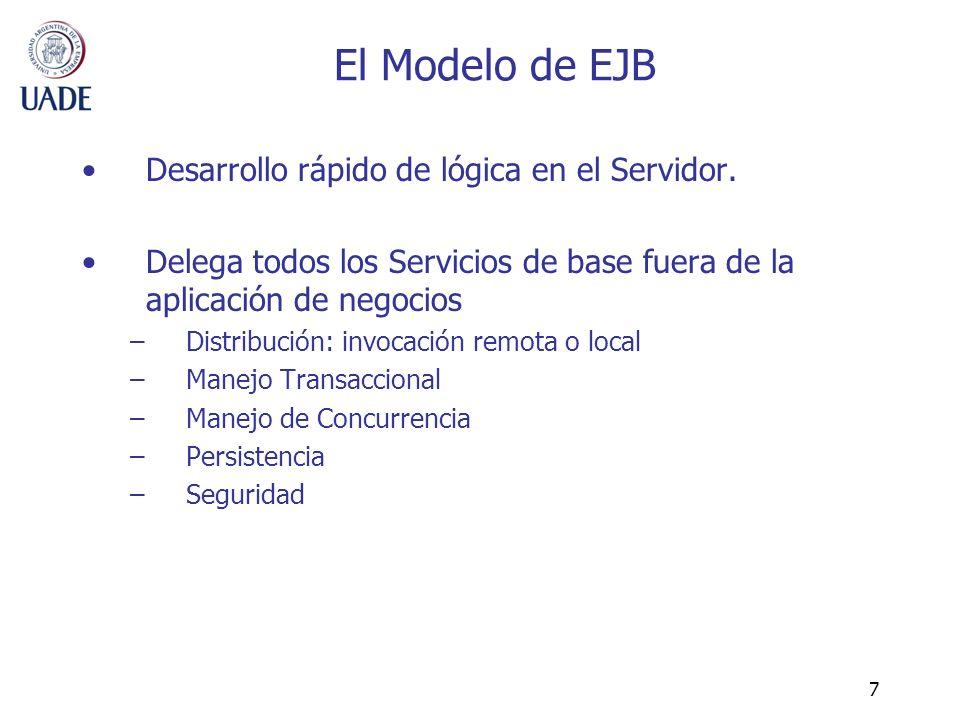 7 El Modelo de EJB Desarrollo rápido de lógica en el Servidor. Delega todos los Servicios de base fuera de la aplicación de negocios –Distribución: in