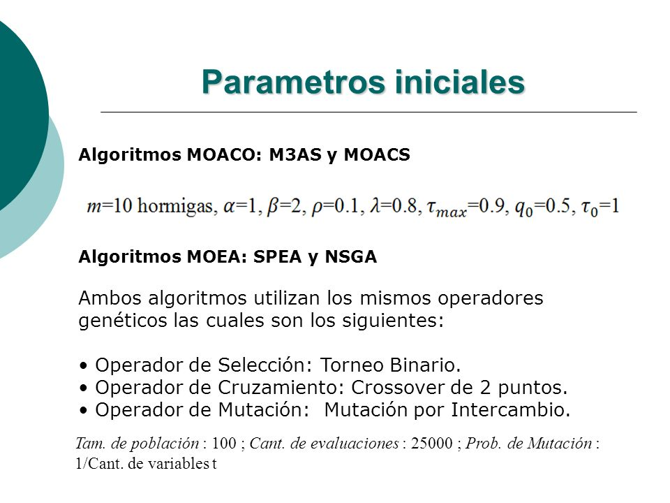 Parametros iniciales Algoritmos MOACO: M3AS y MOACS Algoritmos MOEA: SPEA y NSGA Ambos algoritmos utilizan los mismos operadores genéticos las cuales