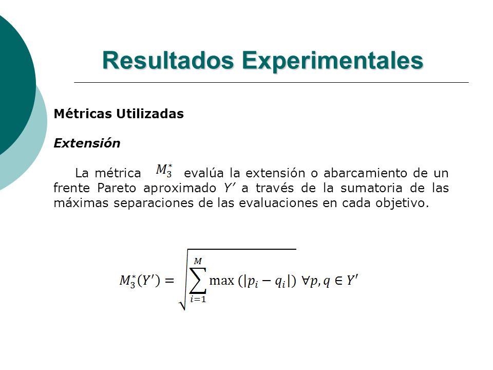 Resultados Experimentales Métricas Utilizadas Extensión La métrica evalúa la extensión o abarcamiento de un frente Pareto aproximado Y a través de la