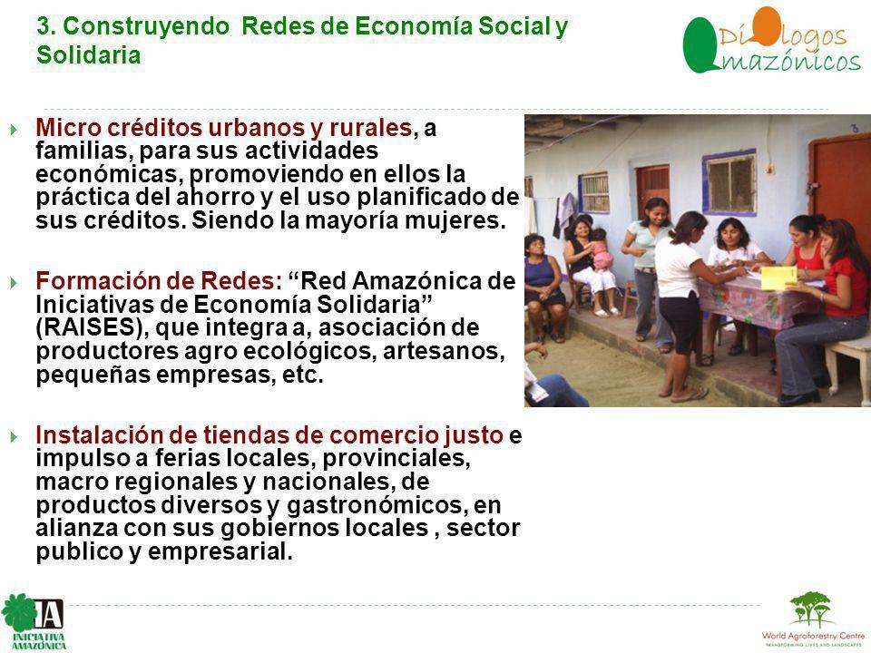 Micro créditos urbanos y rurales, a familias, para sus actividades económicas, promoviendo en ellos la práctica del ahorro y el uso planificado de sus créditos.