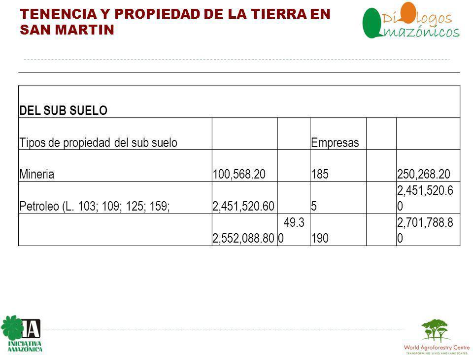 TENENCIA Y PROPIEDAD DE LA TIERRA EN SAN MARTIN DEL SUB SUELO Tipos de propiedad del sub suelo Empresas Mineria100,568.20 185 250,268.20 Petroleo (L.