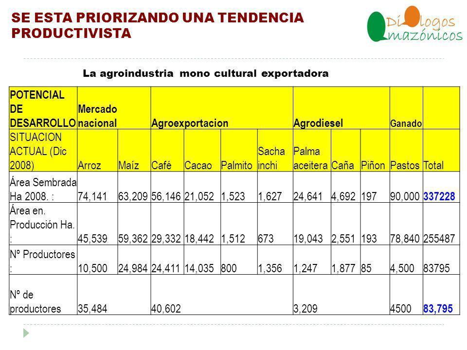 SE ESTA PRIORIZANDO UNA TENDENCIA PRODUCTIVISTA POTENCIAL DE DESARROLLO Mercado nacionalAgroexportacionAgrodiesel Ganado SITUACION ACTUAL (Dic 2008)ArrozMaízCaféCacaoPalmito Sacha inchi Palma aceiteraCañaPiñonPastosTotal Área Sembrada Ha 2008.