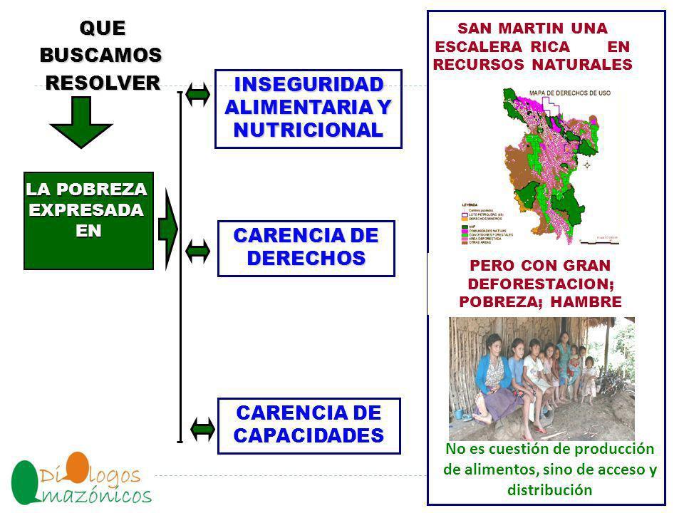 NO HAY DESARROLLO REGIONAL SI NO HAY DESARROLLO RURAL EL Desarrollo del agro en San Martín dependen del pequeño y mediano productor Y NO HAY DESARROLLO RURAL SI EL 84.5% DE LAS FAMILIAS RURALES NO MEJORAN SUS NIVELES DE VIDA.