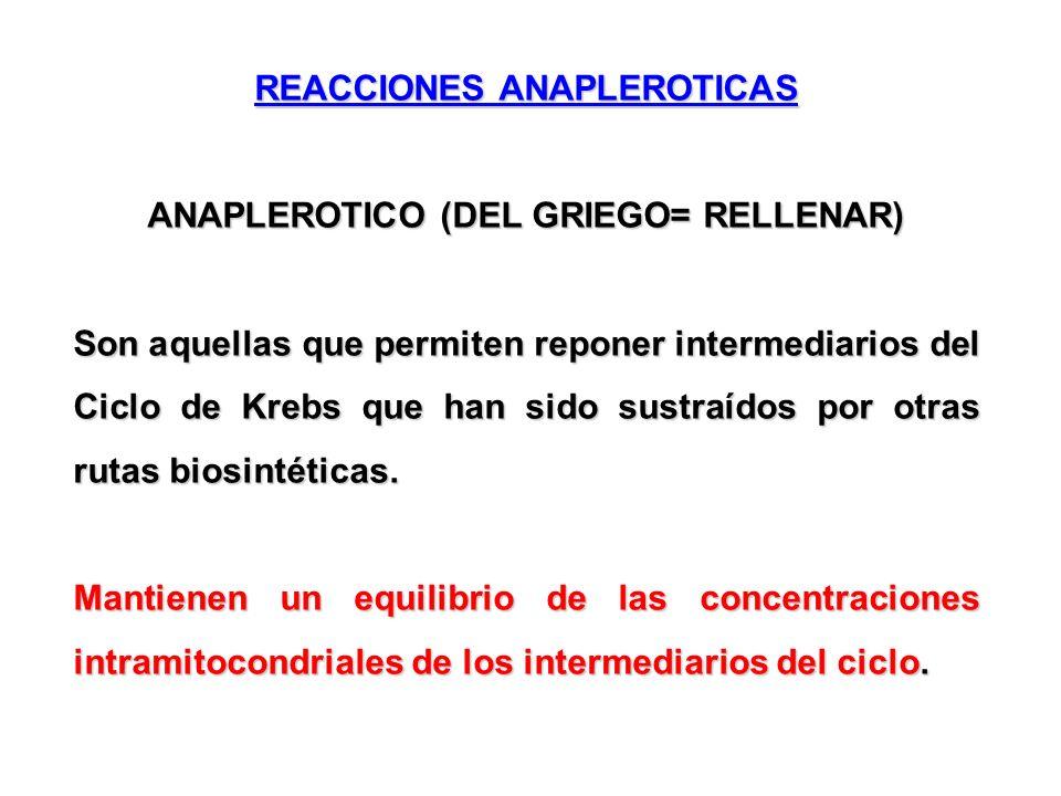 REACCIONES ANAPLEROTICAS ANAPLEROTICO (DEL GRIEGO= RELLENAR) Son aquellas que permiten reponer intermediarios del Ciclo de Krebs que han sido sustraíd