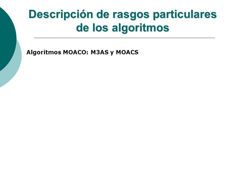 Descripción de rasgos particulares de los algoritmos Algoritmos MOEA: SPEA y NSGA Ambos algoritmos utilizan los mismos operadores genéticos las cuales son los siguientes: Operador de Selección: Torneo Binario.