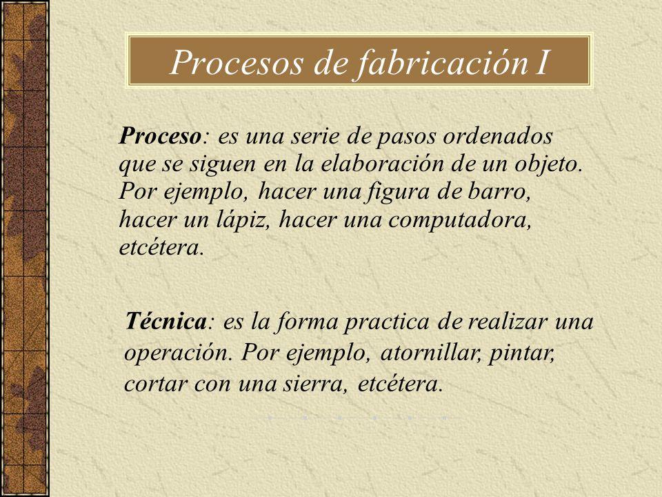 Procesos de fabricación I Proceso: es una serie de pasos ordenados que se siguen en la elaboración de un objeto. Por ejemplo, hacer una figura de barr