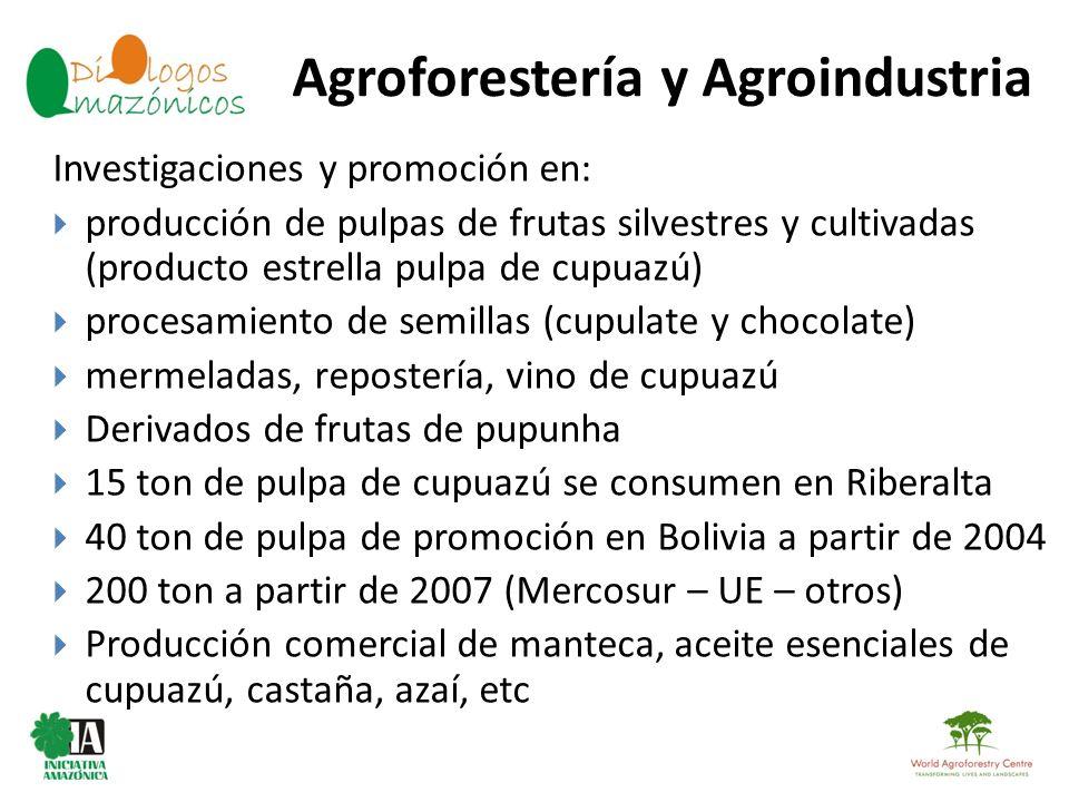 Agroforestería y Agroindustria BOLIVIA Investigaciones y promoción en: producción de pulpas de frutas silvestres y cultivadas (producto estrella pulpa