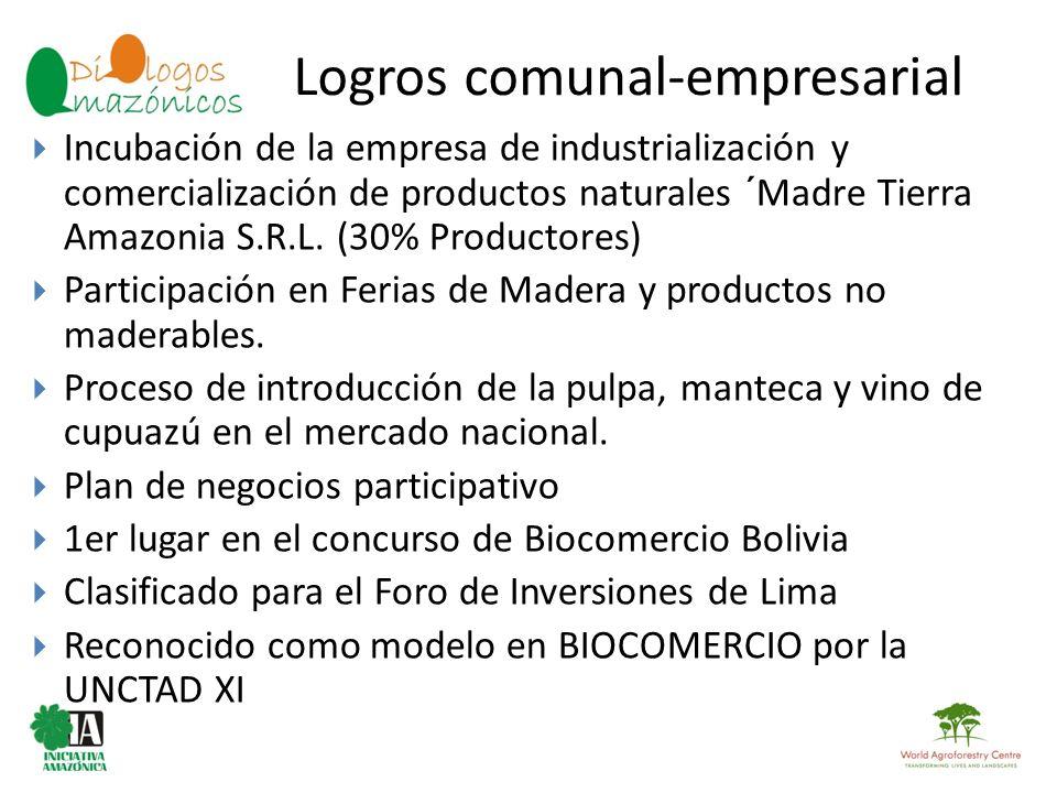 Logros comunal-empresarial BOLIVIA Incubación de la empresa de industrialización y comercialización de productos naturales ´Madre Tierra Amazonia S.R.