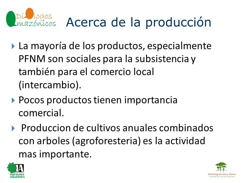BOLIVIA La mayoría de los productos, especialmente PFNM son sociales para la subsistencia y también para el comercio local (intercambio). Pocos produc