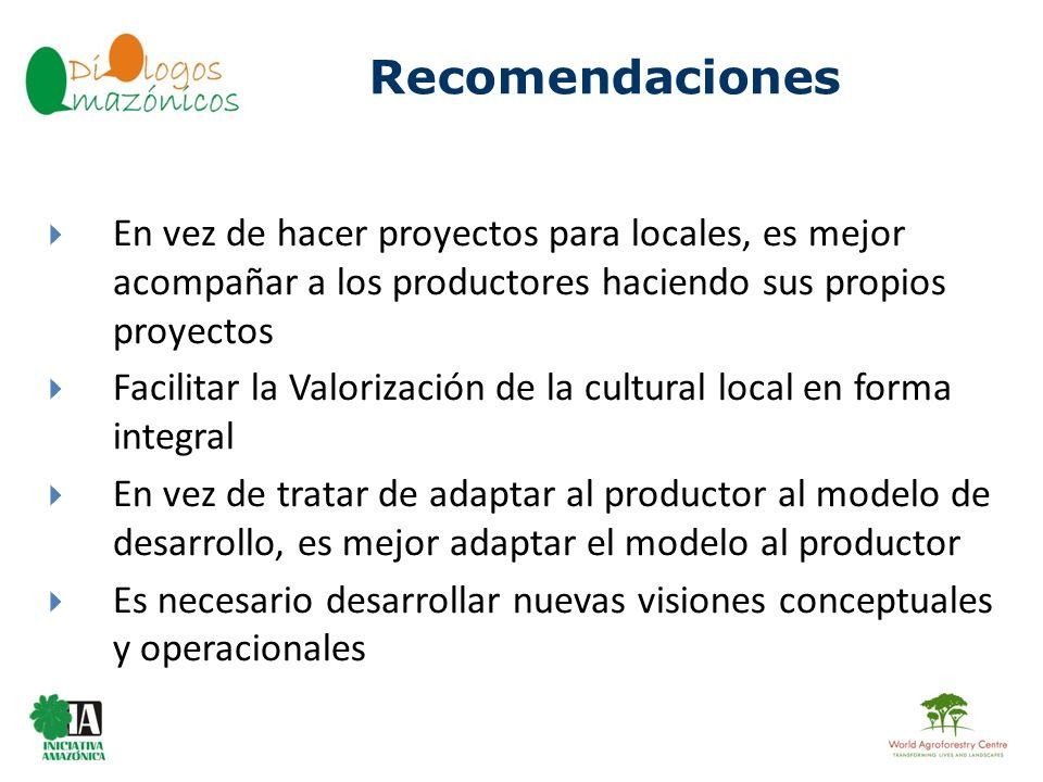 BOLIVIA Recomendaciones En vez de hacer proyectos para locales, es mejor acompañar a los productores haciendo sus propios proyectos Facilitar la Valor