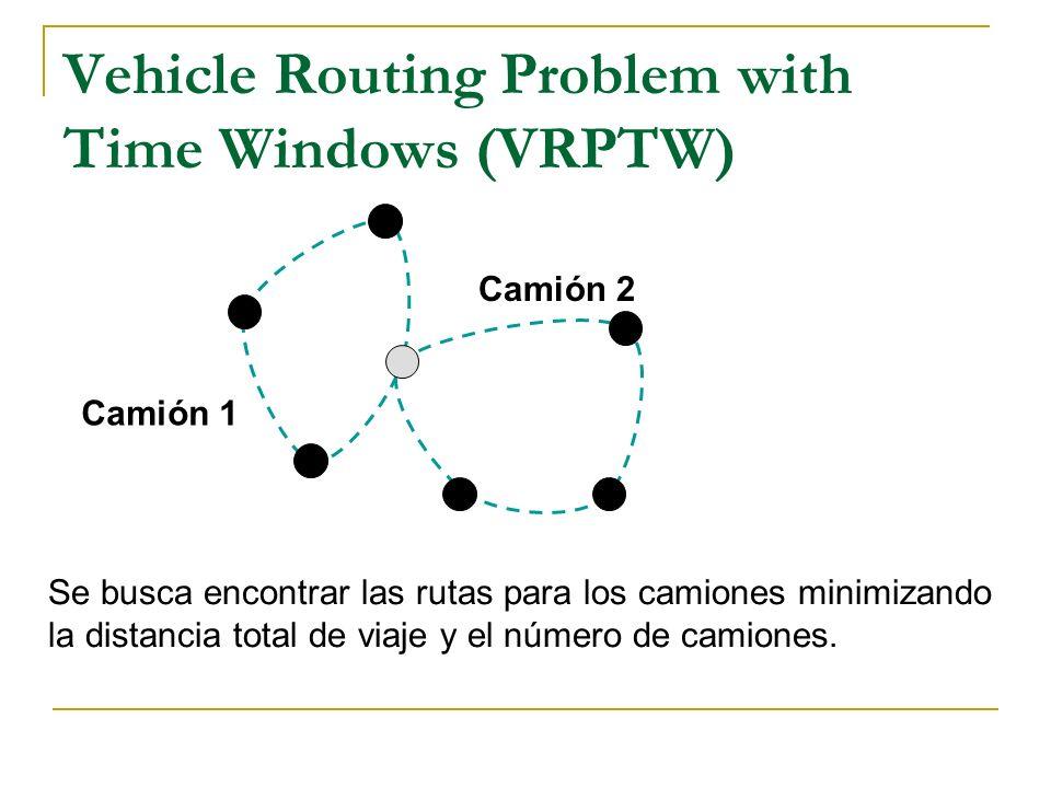 Vehicle Routing Problem with Time Windows (VRPTW) Se busca encontrar las rutas para los camiones minimizando la distancia total de viaje y el número d
