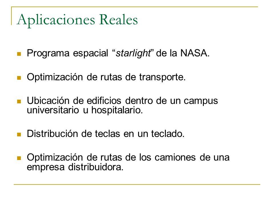 Aplicaciones Reales Programa espacial starlight de la NASA. Optimización de rutas de transporte. Ubicación de edificios dentro de un campus universita
