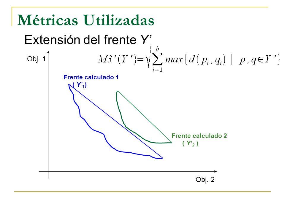 Métricas Utilizadas Extensión del frente Y Obj. 1 Obj. 2 Frente calculado 1 ( Y 1 ) Frente calculado 2 ( Y 2 )