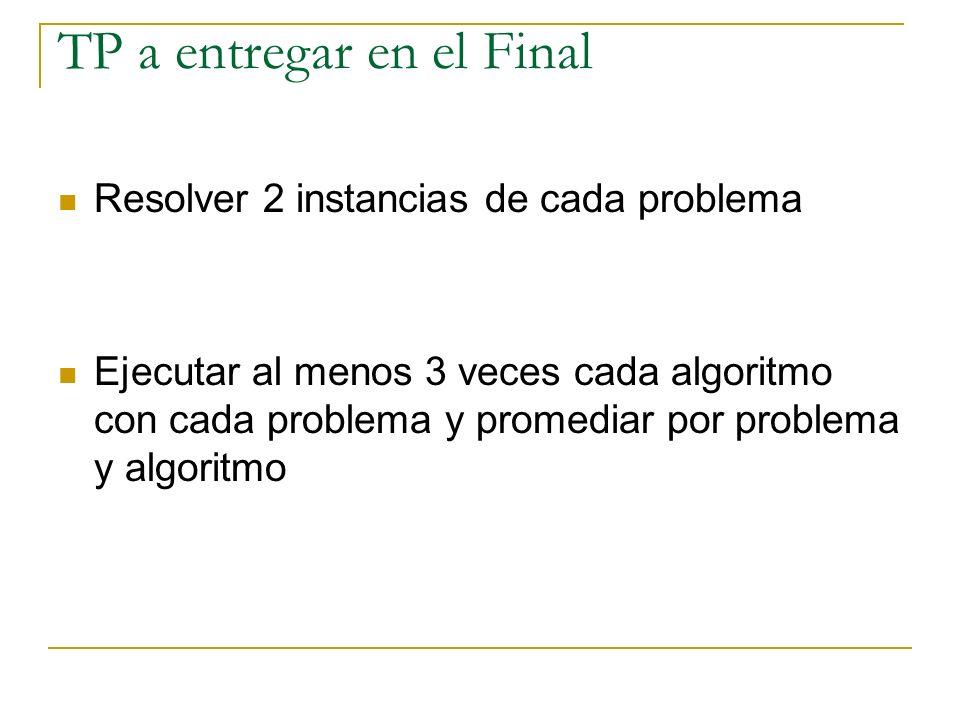 Resolver 2 instancias de cada problema Ejecutar al menos 3 veces cada algoritmo con cada problema y promediar por problema y algoritmo TP a entregar e