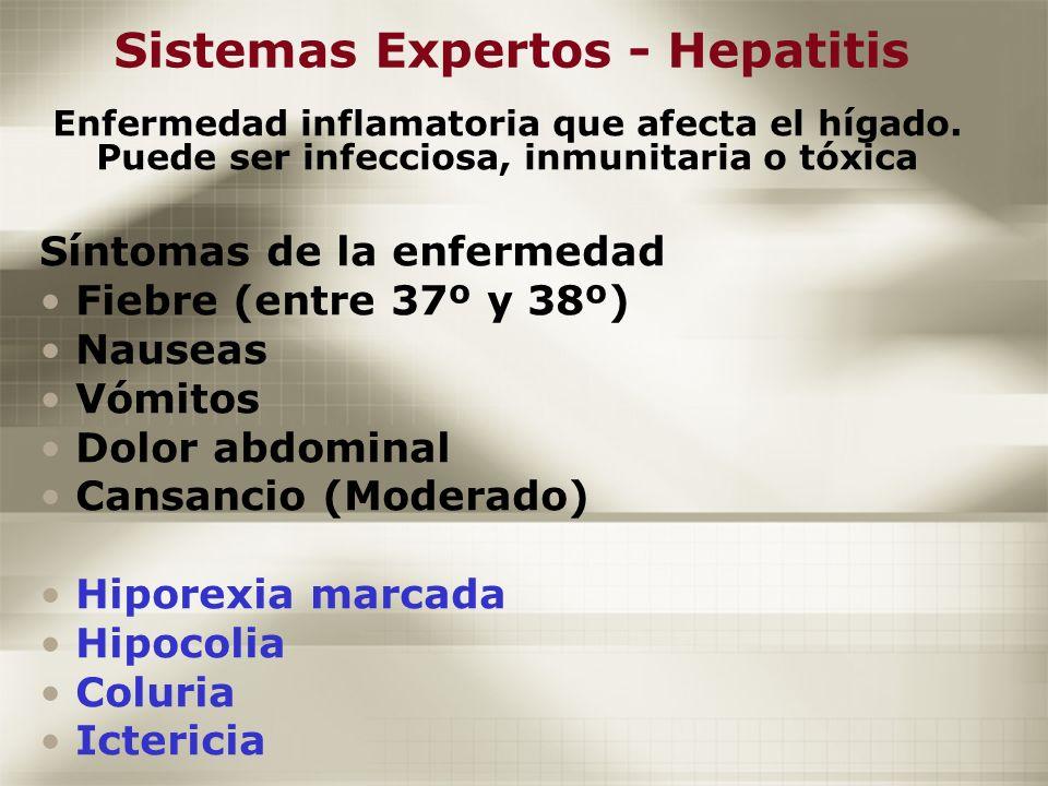 Sistemas Expertos - Hepatitis Enfermedad inflamatoria que afecta el hígado. Puede ser infecciosa, inmunitaria o tóxica Síntomas de la enfermedad Fiebr