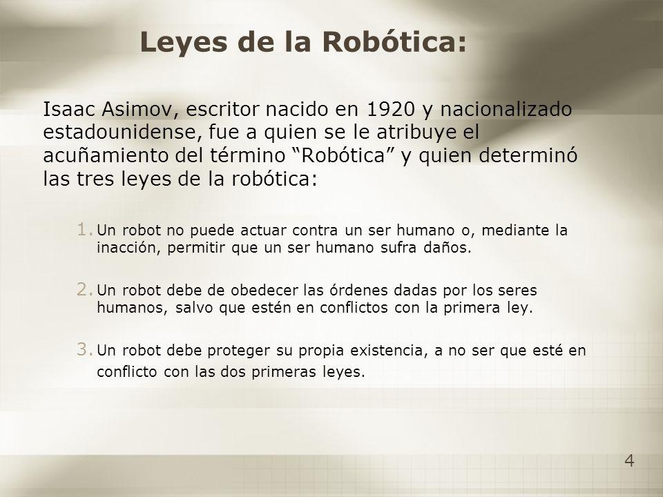 4 Leyes de la Robótica: Isaac Asimov, escritor nacido en 1920 y nacionalizado estadounidense, fue a quien se le atribuye el acuñamiento del término Ro