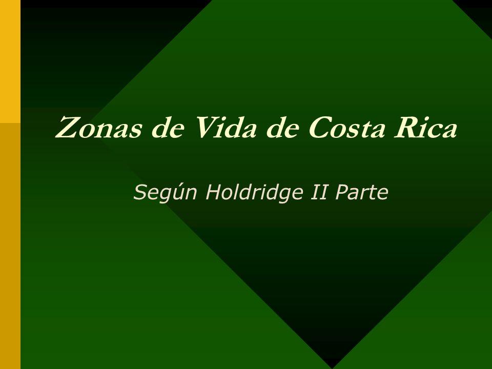 Zonas de vida y pisos altitudinales de Costa Rica Piso altitudinal Límites de temperatura (ºC grados Celsius) Límite altitudinal (msnm) Zonas de Vida (TROPICAL) BasalMás de 24 (21)0-700 según la regiónBosque seco Bosque húmedo Bosque Muy Húmedo Premontano24-18 (16)700 - 1400 según la región Bosque Húmedo Bosque Muy Húmedo Bosque Pluvial Montano Bajo18-12 (11)1400 - 2700Bosque Húmedo Bosque Muy Húmedo Bosque Pluvial Montano12-6 (13-5,5)De unos 2400 - 3700Bosque Muy húmedo Bosque Pluvial Subalpino o Montano Alto 6-3 (6,5-2,27)2800 - 4100Bosque Pluvial